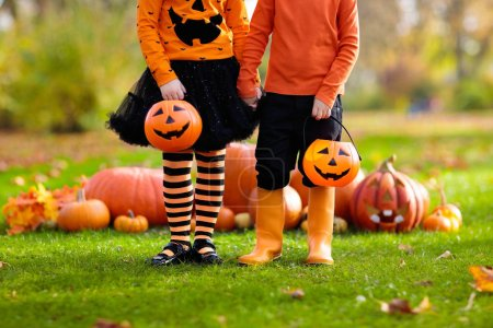 Photo for Children in black and orange witch costume and hat play with pumpkin and spider in autumn park on Halloween. Kids trick or treat. Boy and girl carving pumpkins. Family fun in fall. Dressed up child. - Royalty Free Image