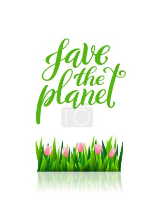 Photo for Save the planet. Template for poster with handdrawn lettering. Vector illustration. - Royalty Free Image