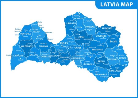 The detailed map of Latvia with regions or states ...