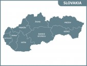 The detailed map of Slovakia with regions or states Administrative division