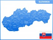 The detailed map of Slovakia with regions or states and cities capitals Administrative division