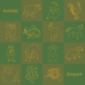 Animals in zoopark 14 icons with image of animals