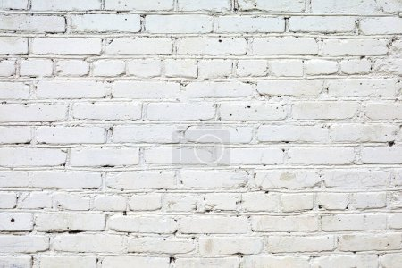 Photo for White grunge brick wall background. Loft styled white brick wall. white brick wall background in rural room - Royalty Free Image