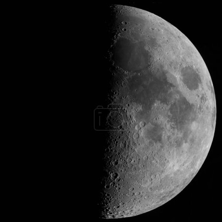 First quarter moon o background