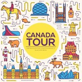 Country Canada travel vacation infographic of place and feature Set of architecture fashion people item nature background concept Infographic traditional ethnic flat outline thin line icon