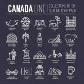 Country Canada travel vacation guide of goods place and feature Set of architecture fashion people item nature background concept Infographic traditional ethnic flat outline thin line icon