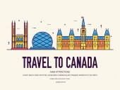 Country Canada travel vacation of place and feature Set of architecture item nature background concept Infographic traditional ethnic flat outline thin line icon
