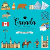 Country Canada travel vacation infographic of place and feature Set of architecture fashion people item nature background concept Infographic traditional ethnic flat outline thin line