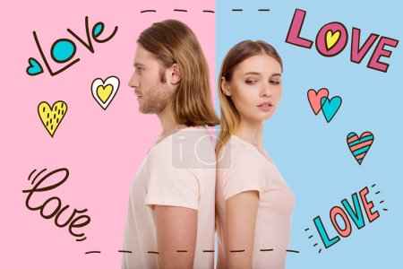 Young woman thinking about love while standing near her handsome boyfriend