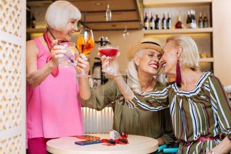 Positive aged women having fun