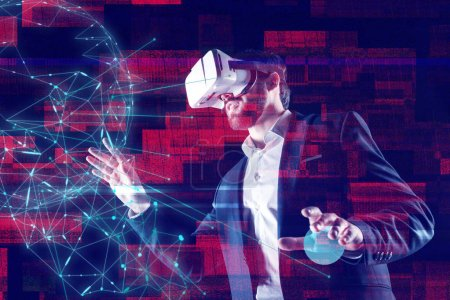 Calm web developer using virtual reality while working with holograms
