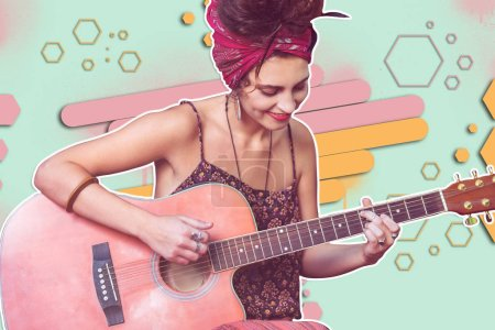 Wonderful talanted young lady playing a guitar