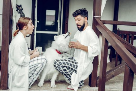 Photo pour Un chien qui mange des cookies. beau brun cheveux barbu mari amusant à la façon dont le chien blanc moelleux manger cookie tandis que son charme choqué agréable attrayante belle femme rousse assis avec tasse de café . - image libre de droit