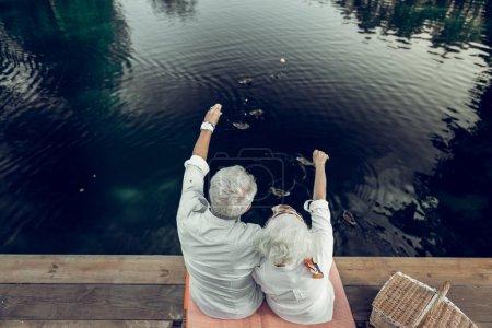 Photo pour Beau paysage. Plan arrière de jolies jolies épouses âgées aimantes et heureuses avec une coiffure courte grise profitant du paysage sur le lac - image libre de droit