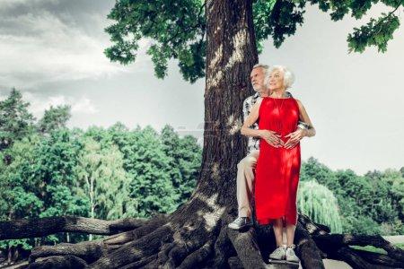 Photo pour Belles épouses âgées. attrayant gai vieux homme aux cheveux blancs câlinant tendrement une charmante charmante élégante femme vieillissante en robe rouge tout en se tenant sous l'arbre - image libre de droit