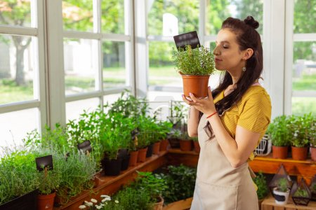 Photo pour J'adore ton boulot. Belle ouvrière d'un fleuriste debout devant les verts et reniflant une des plantes . - image libre de droit