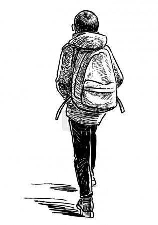 Illustration pour Croquis d'un élève junior qui va à l'école - image libre de droit