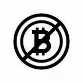 Sign no bitcoin on white background. suspended trading. vector