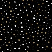 Seamless pattern with little rounded back stars, dots and circles on black background. vector