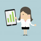 Businesswoman holding a tablet with growing graph vector