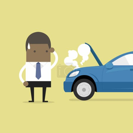 Illustration for African businessman have a force majeure, a car broke down. - Royalty Free Image