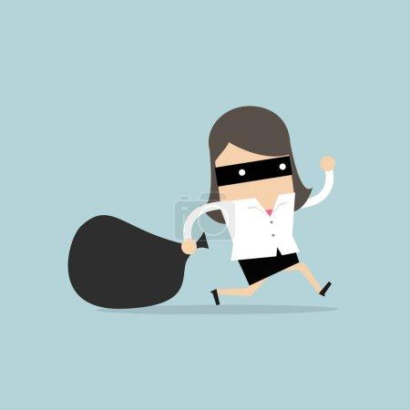 Businesswoman in burglar mask flees with stolen bag.