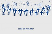 Finland garland flag with confetti on gray background, Hang bunting for Finland celebration template banner.
