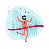 Successful businessman celebrating victory. Jumping man crossing the finishing line.