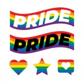 LGBT Pride Text In Rainbow Flag. The Colors Reflect The Diversity of The LGBT Community.