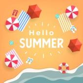 Hello Summer tropical beach top view banner template