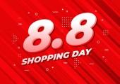 8.8 Shopping day sale poster or flyer design. 8.8 Crazy sales online.