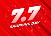 7.7 Shopping day sale poster or flyer design. 7.7 Crazy sales online.