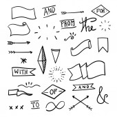 Set Of Decorative Calligraphic Elements For Decoration. Hand drawn lines. Hand-lettered ampersands and catchwords.