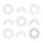 Set of Vintage Sunbursts in Different Shapes. Hipster Hand Drawn Retro Bursting Rays Design Elements.