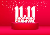 11.11 Shopping carnival sale poster or flyer design. Global shopping world day Sale on red background. 11.11 Crazy sales online.