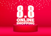 8.8 Online Shopping sale poster or flyer design. Online shopping day Sale on red background.