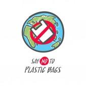 Hand drawn save the earth sign. No plastic bag icon. Say no to plastic bag.