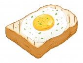 Fried egg on top of toast bread hand drawn vector illustration isolated on white background