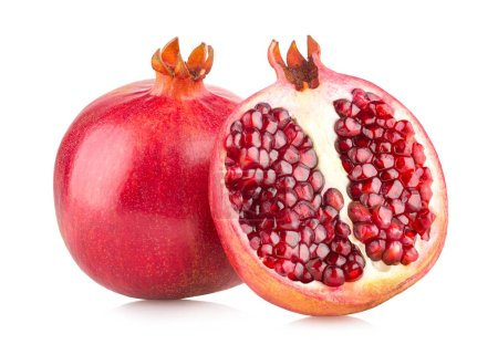 Ripe pomegranates isolated on white background