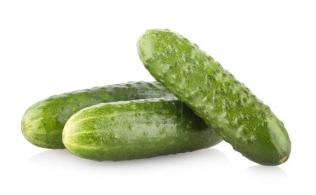 Photo for Fresh cucumbers isolated on white background - Royalty Free Image
