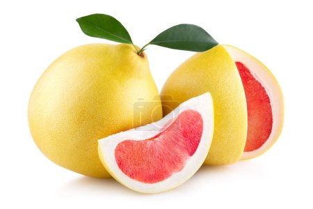 Photo for Ripe pomelo isolated on white background - Royalty Free Image