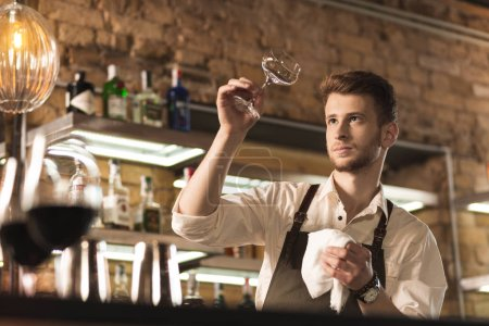 Young professional barman checking cleanness of glass