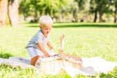 Summer picnic. Small cute child spending a day in the park while having a picnic