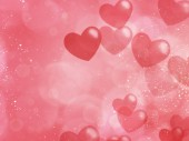 Cute valentine's day background with hearts bokeh - Illustration