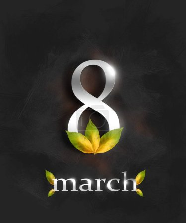 Photo for 8 march greeting card template with green leaves - Royalty Free Image