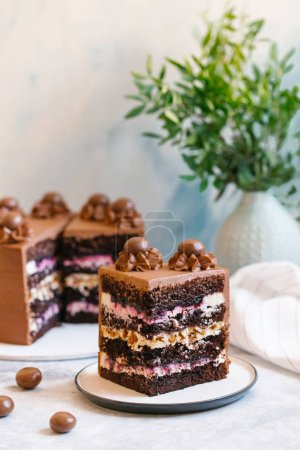 Photo for Close up view of sweet homemade cake decorated with chocolate - Royalty Free Image