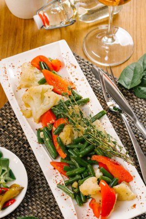 Photo for Healthy steamed vegetables served on plate - Royalty Free Image