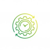 production cycle icon with cogwheel and watch