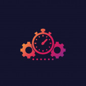 productivity icon with stopwatch and cogwheels
