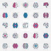 Digital Brain colored icons set - vector AI Smart brain signs